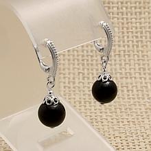 Шерл черный турмалин, Ø10 мм., серебро, серьги, 271СРШ