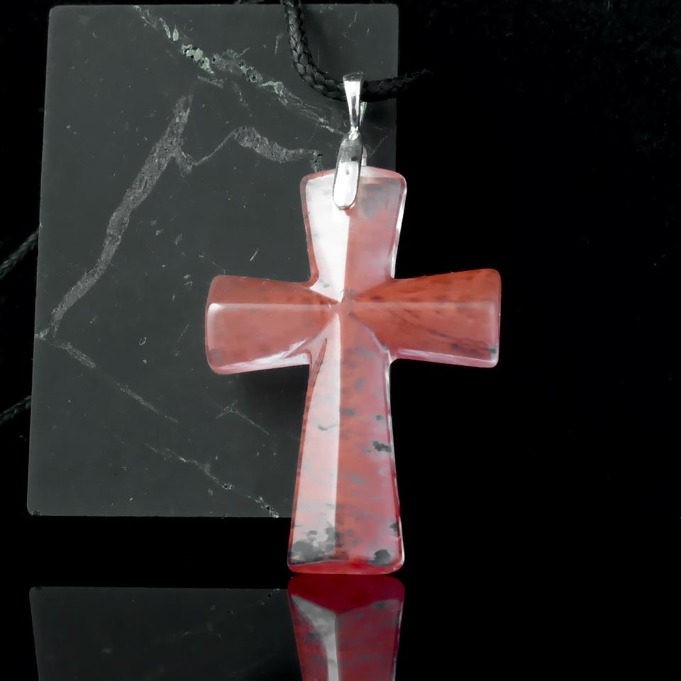 Турмалиновый кварц, серебро, крестик, 675КЛТ
