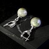 Лабрадор, серебро, серьги, 300СРЛ, фото 2