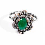 Кольцо винтажное из серебра и латуни с зеленым агатом, 8*6 мм., 1087КЦА, фото 2