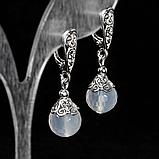 Серебряные серьги с белым агатом, Ø10 мм., 456СРА, фото 3