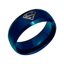"""Кольцо из нержавеющей стали """"Супермен"""", синие анодирование, 1085КЖ"""