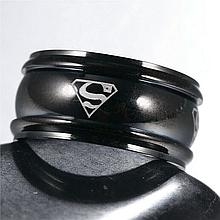 """Кольцо из нержавеющей стали, """"Супермен"""", черное анодирование, 1206КЖ"""