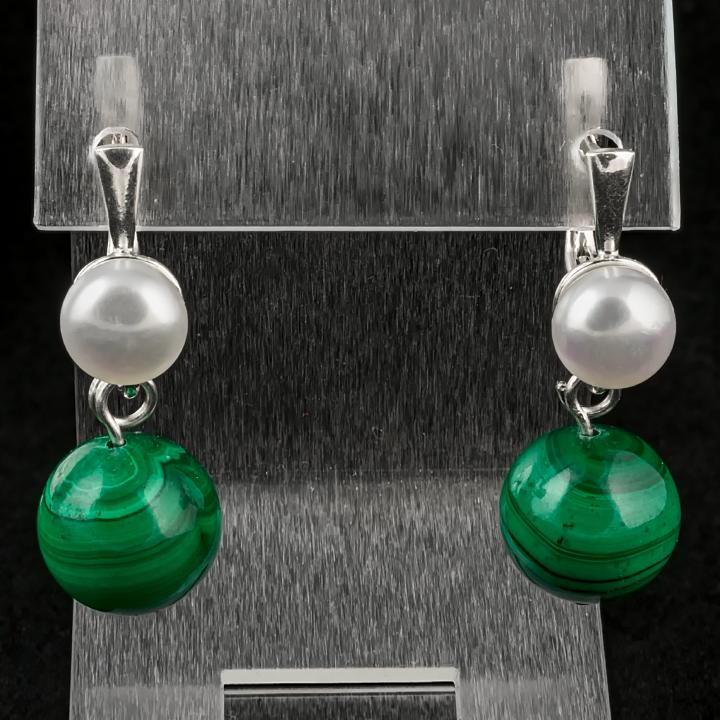 Малахіт і перли, срібло, сережки, 120СМ