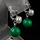 Малахіт і перли, срібло, сережки, 120СМ, фото 2