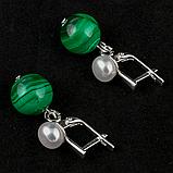Малахіт і перли, срібло, сережки, 120СМ, фото 3