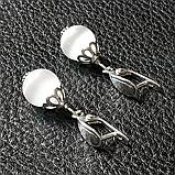 Котяче око, срібло, сережки, 199СРК, фото 3