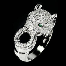 Серебряное кольцо с цирконом, фигурка Тигр, 1435КЦ
