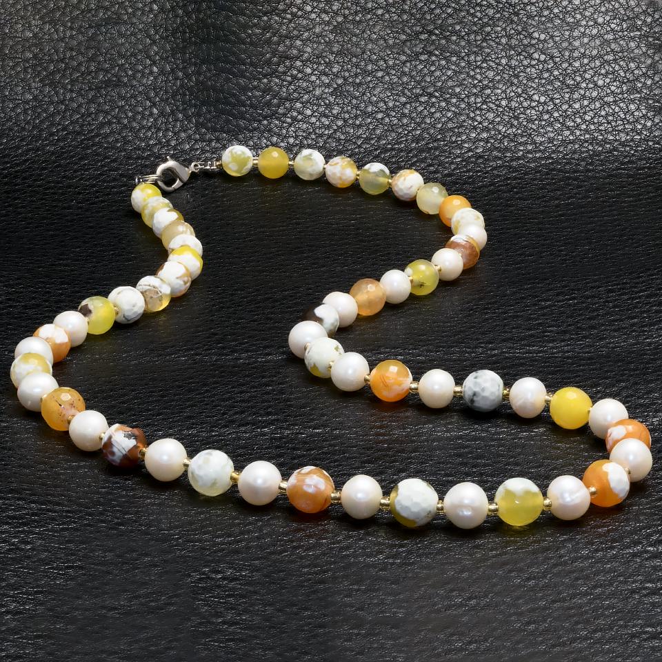 Агат цитрусовий і перли, Ø8 мм, намисто, 259БСА