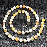 Агат цитрусовий і перли, Ø8 мм, намисто, 259БСА, фото 2