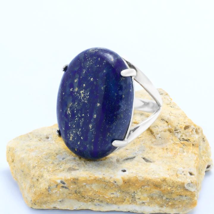 Серебряное кольцо с лазуритом Афганским, 25*18 мм., 544КЛ