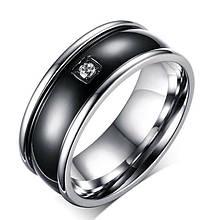 Кольцо из нержавеющей стали с стразом, серебристое анодирование, 1278КЖ