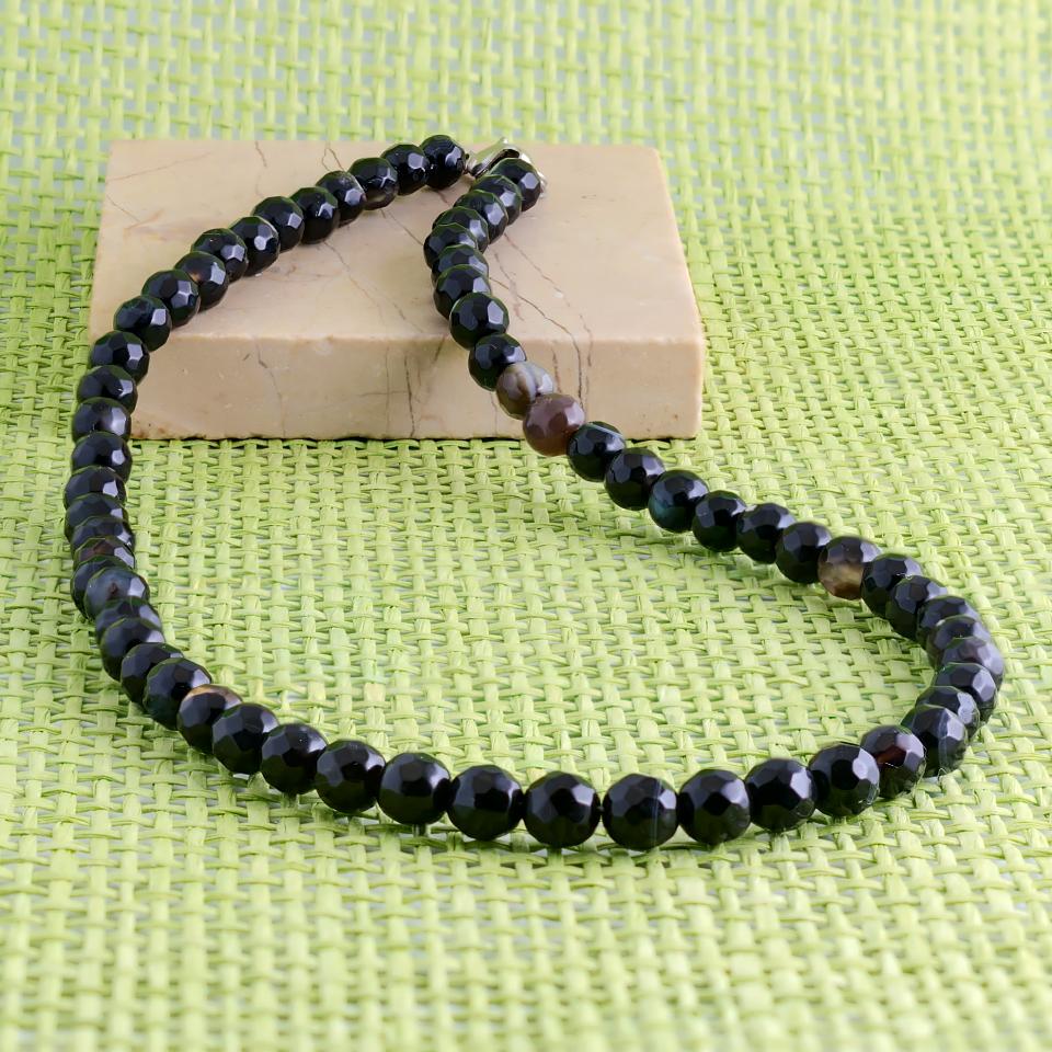 Оникс граненый, Ø6 мм., бусы, 354БСО