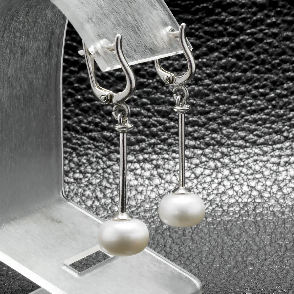 Жемчуг белый, серебро Ø10, серьги, 281СРЖ
