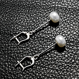 Жемчуг белый, серебро Ø10, серьги, 281СРЖ, фото 3