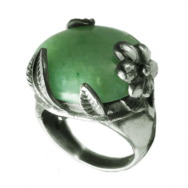 Нефрит, мельхиор кольцо, 017КН
