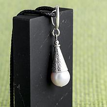 Жемчуг белый, Ø10 мм., серебро, кулон, 730КЛЖ