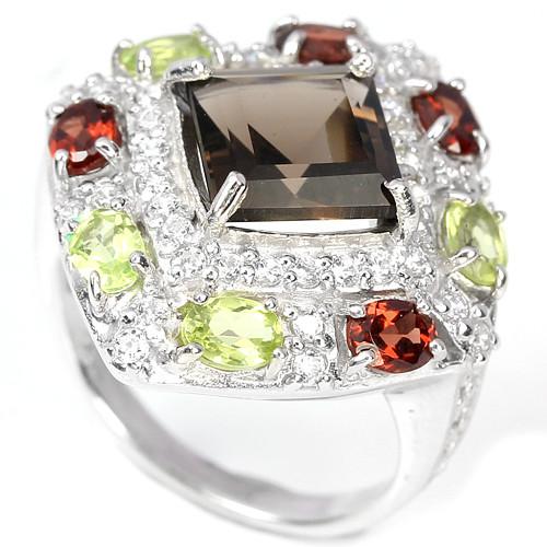 Раухтопаз, гранат и хризолит, серебро 925, кольцо, 259КР
