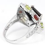 Раухтопаз, гранат и хризолит, серебро 925, кольцо, 259КР, фото 3