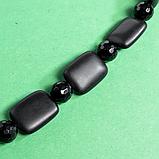 Бяньши черный нефрит и агат, 20*15 мм., бусы, мел001, фото 3