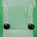 Оникс черный, серебро, серьги, 368СРО, фото 2