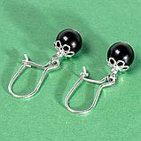 Оникс черный, серебро, серьги, 368СРО, фото 3