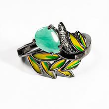 Серебряное кольцо с изумрудом, 1227КИ