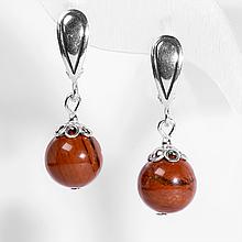 Серебряные серьги с красной яшмой, Ø10 мм., 429СРЯ