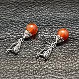 Сердолик, серебро, серьги, 282СРС, фото 3