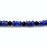 Сапфир синий, бусы шнурок, фото 3