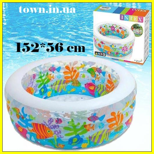 """Дитячий надувний басейн Intex,152*56см""""Акваріум"""" Басейн Интекс з надувним дном для дітей, для малюків 58480"""