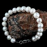 Жемчуг белый крупный, Ø12 мм., браслет, 220БРЖ, фото 2