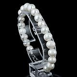 Жемчуг белый крупный, Ø12 мм., браслет, 220БРЖ, фото 3