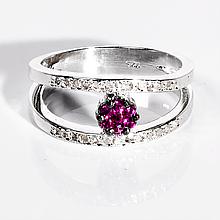 Кольцо с алмазом и цирконом, 1417КЦ