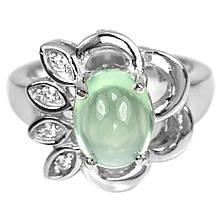Серебряное кольцо с пренитом, 9*7 мм., 1442КП