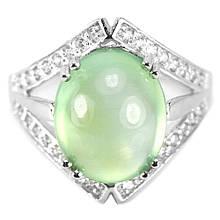 Серебряное кольцо с пренитом, 13*10 мм., 1443КП