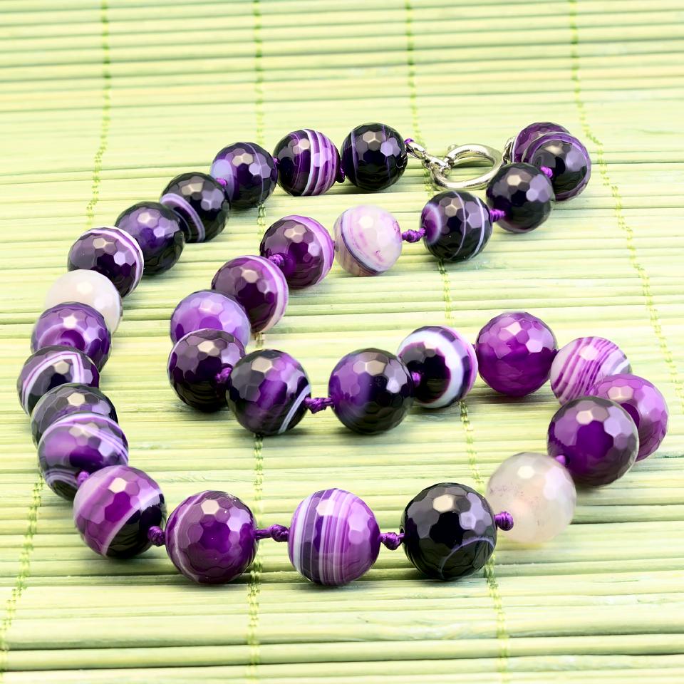Агат фиолетовый граненый, Ø12 мм., бусы, 260БСА