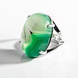 Агат зеленый, 25*18 мм., серебро 925, кольцо, 949КА, фото 2