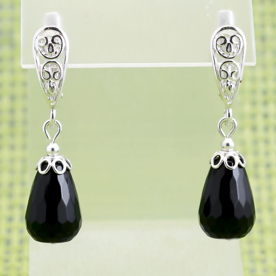 Агат чорний, срібло, сережки, 321СРА