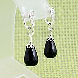 Агат чорний, срібло, сережки, 321СРА, фото 2