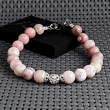 Опал розовый, Ø8 мм., серебро, браслет, 433БРО