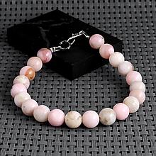 Опал розовый, Ø8 мм., браслет, 434БРО