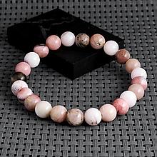 Опал розовый, Ø8 мм., браслет, 435БРО