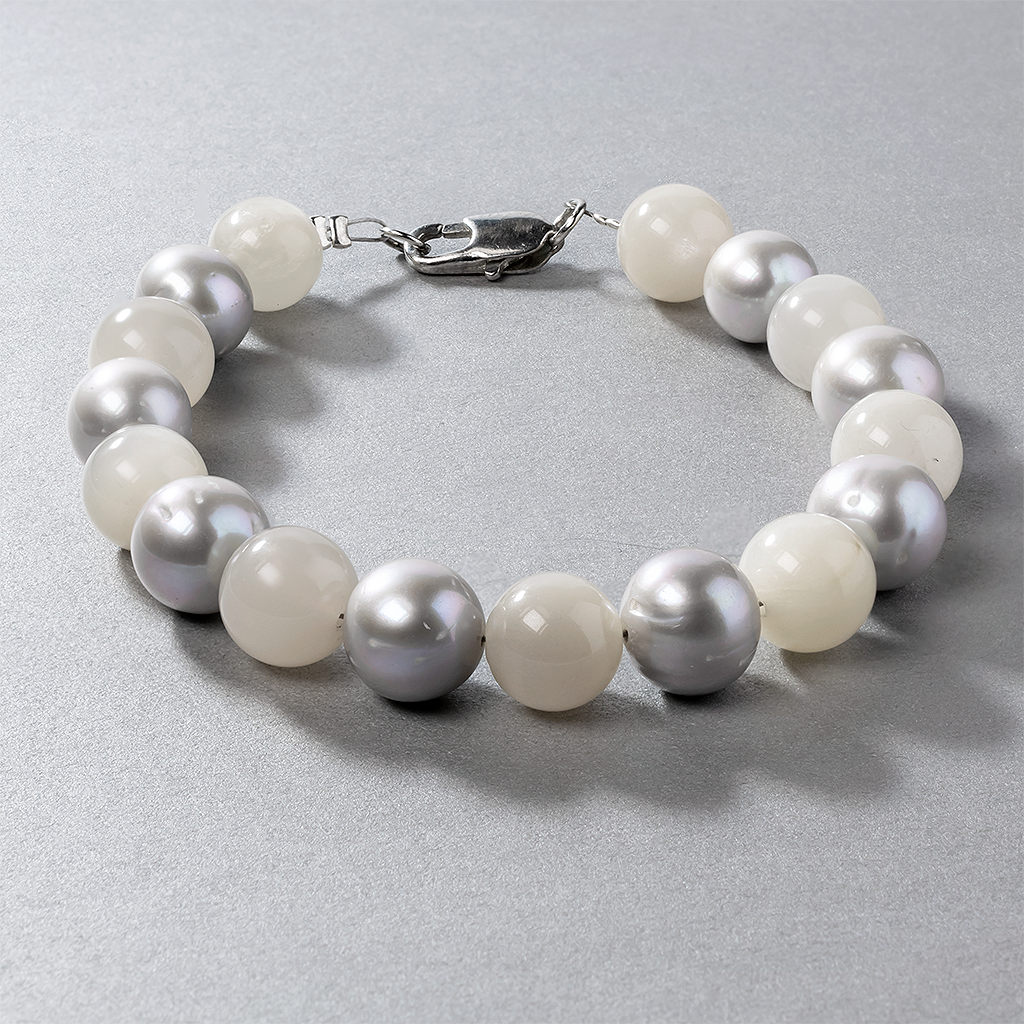 Лунный камень и серебристый жемчуг, Ø10 мм., браслет, 486БРЛ