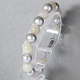Лунный камень и серебристый жемчуг, Ø10 мм., браслет, 486БРЛ, фото 2