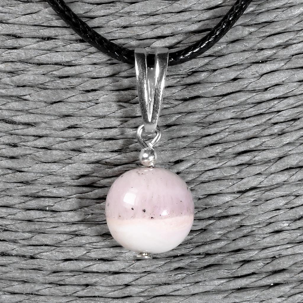 Опал розовый самородок полированный, серебро, кулон, 972КЛО