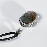 Агат моховый, серебро, кулон, 998КЛА, фото 2