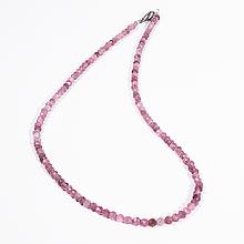 Бусы шнурок из розового турмалина рубеллит, Ø3 мм., 727БСТ