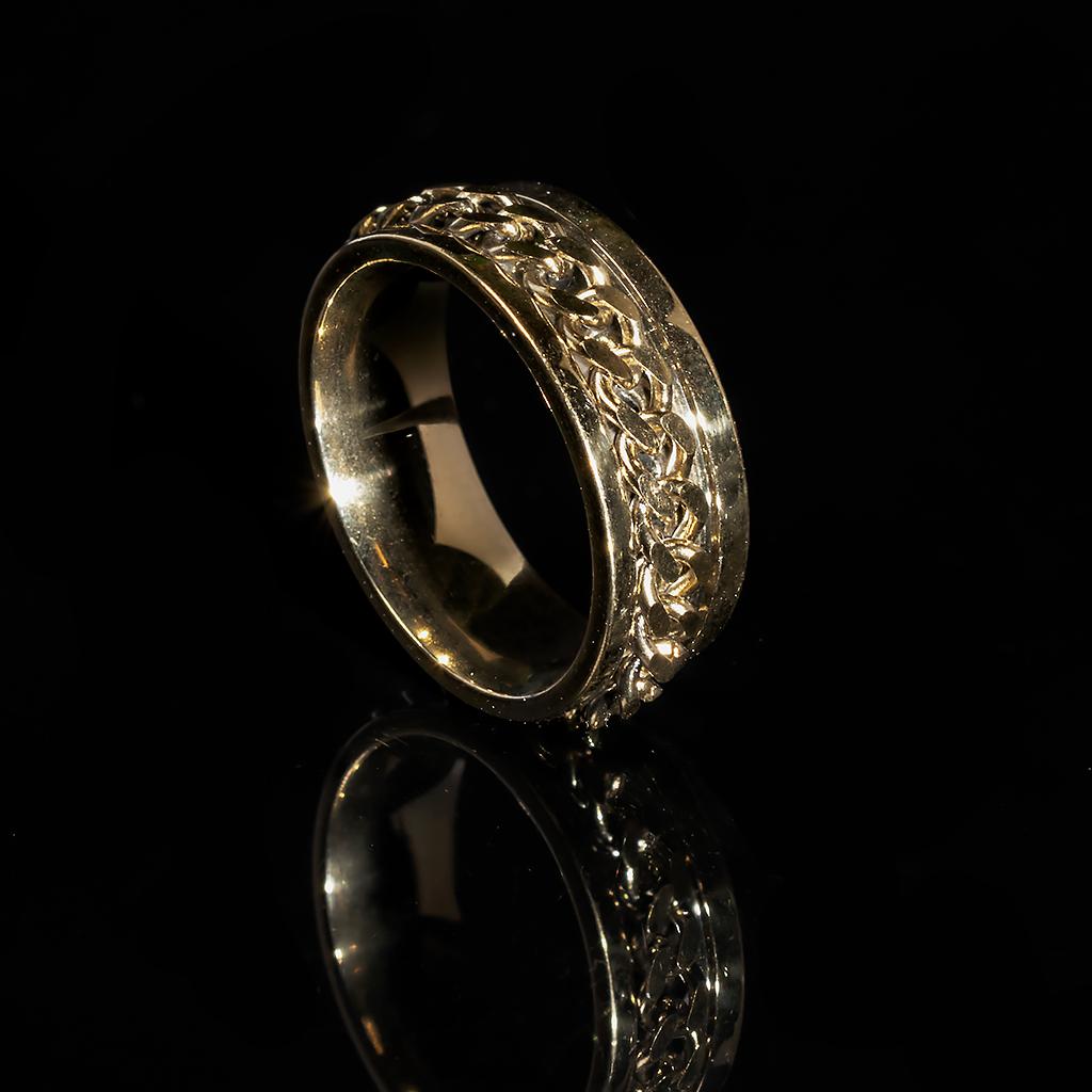 Кольцо из нержавеющей стали, золотистое анодирование, 1235КЖ