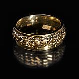 Кольцо из нержавеющей стали, золотистое анодирование, 1235КЖ, фото 2